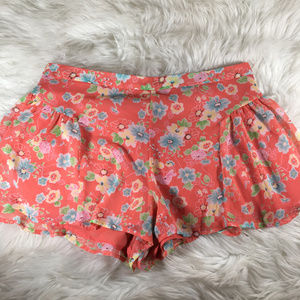 Free People Coral Floral Flowy Shorts Size 6